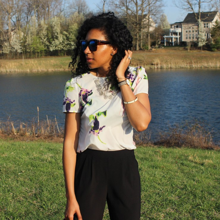 Floral French Connection Shirt and Black Trousers-8409