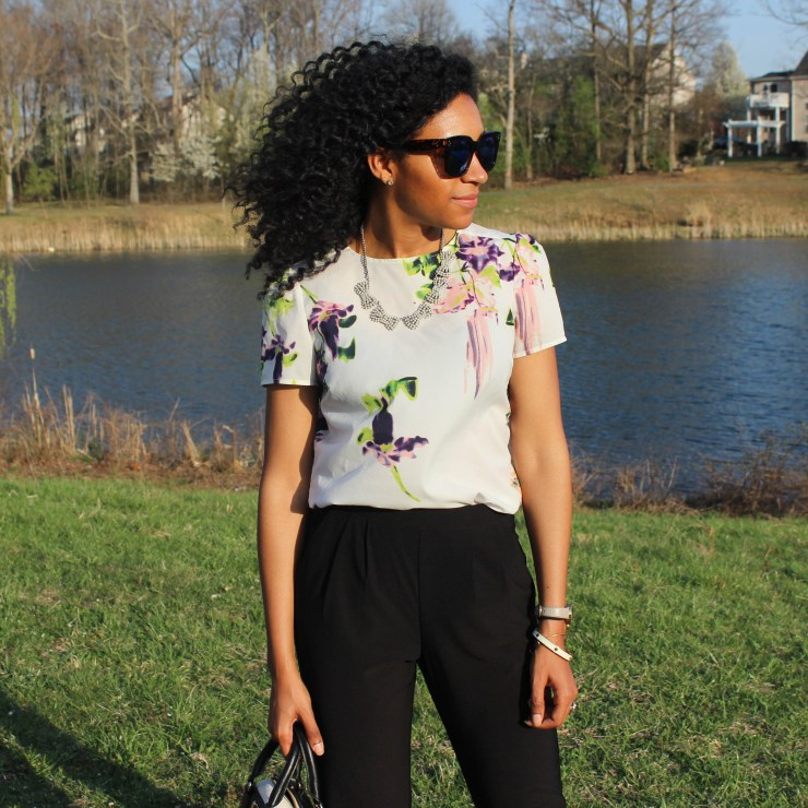Floral French Connection Shirt and Black Trousers-8456