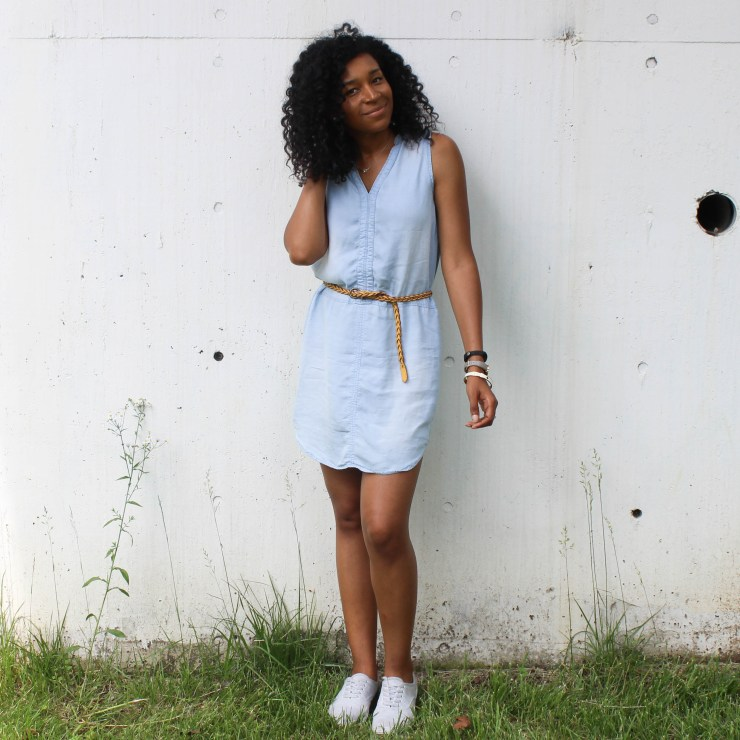 Thrifted Chambray Shirt Dress-0490