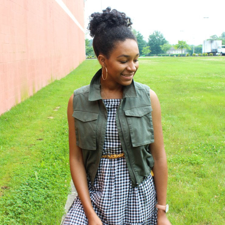 Gingham Midi Dress with Utility Vest-1357