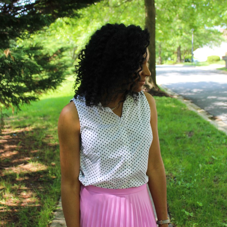 Polka Dot Shirt with Pink Midi Skirt-0256