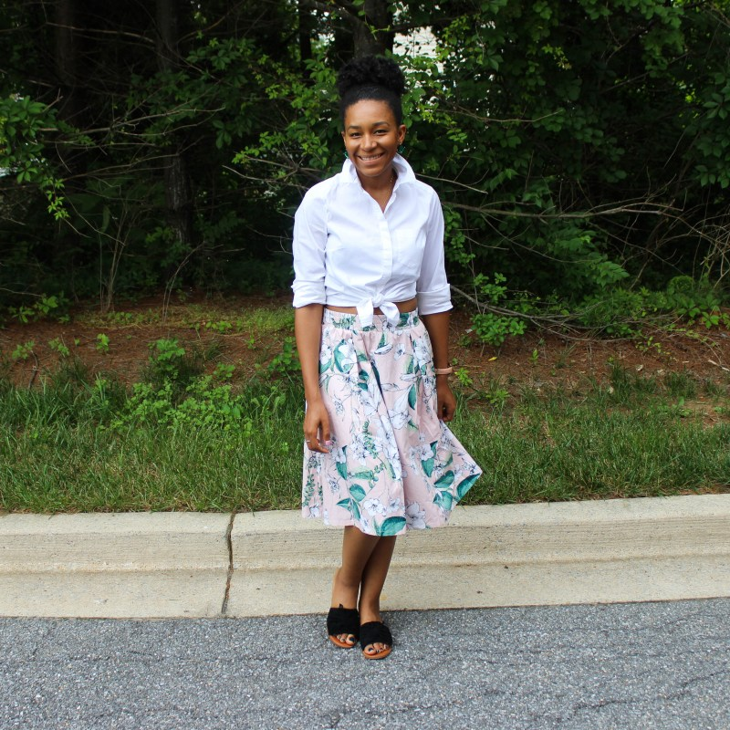 White Shirt with Pink Floral Midi Skirt-0795