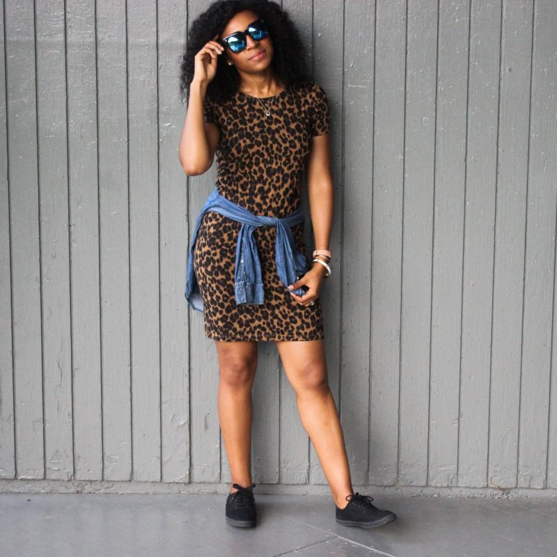 Leopard Dress with Denim Shirt-3034
