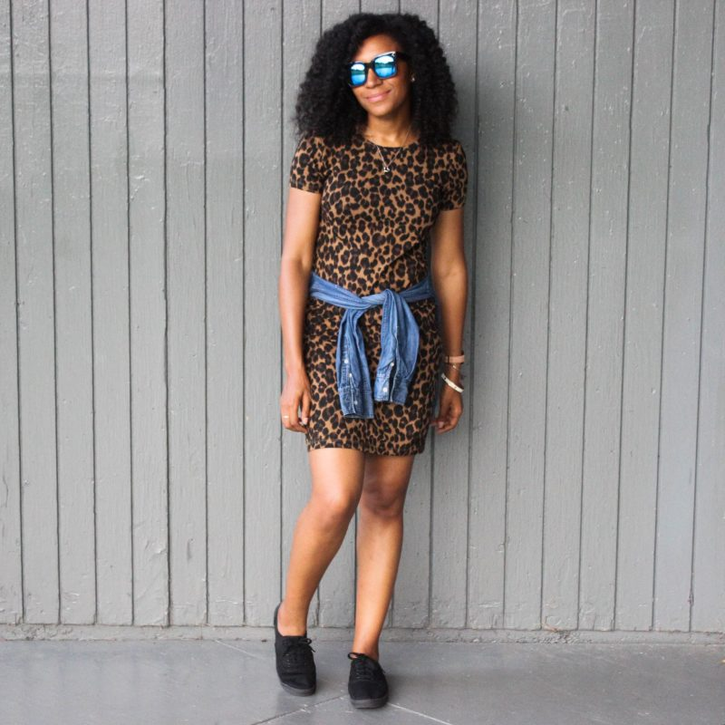 Leopard Dress with Denim Shirt-3066