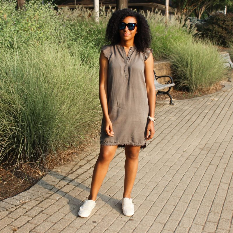 Olive Green Dress with Slides-3305