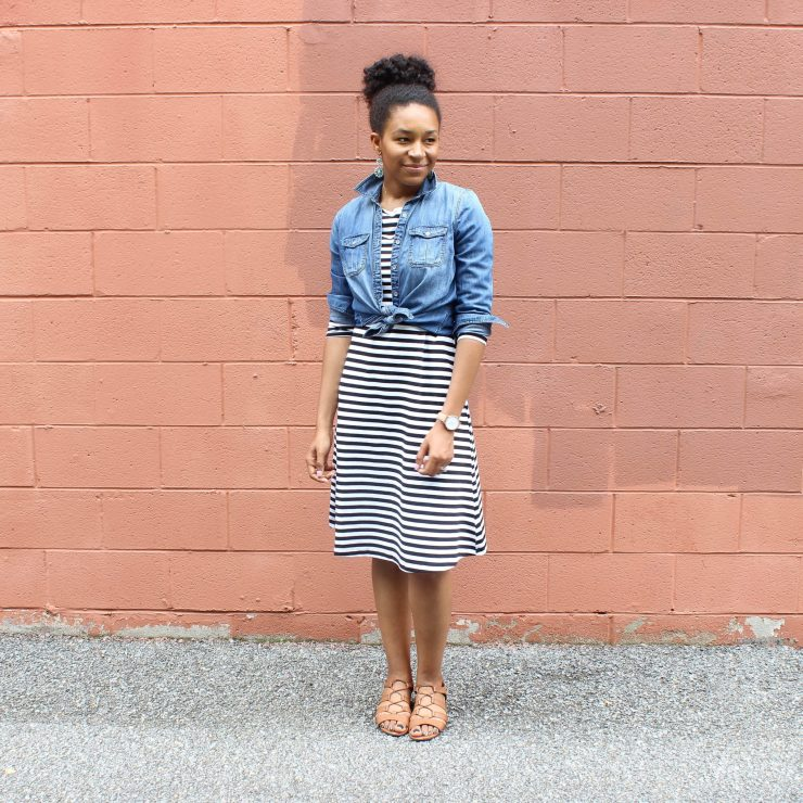 Striped Dress with Denim Shirt-1696