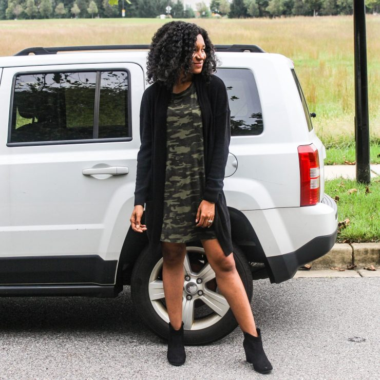TJ Maxx Camo Shirt Dress with Black Long Line Cardigan-6