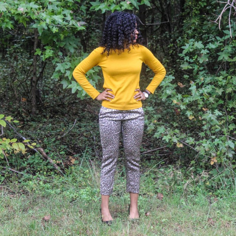 Yellow Sweater with Leopard Pants-3996