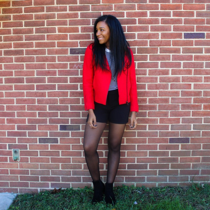 Red Jacket J-Crew Bodysuit Black Shorts-4