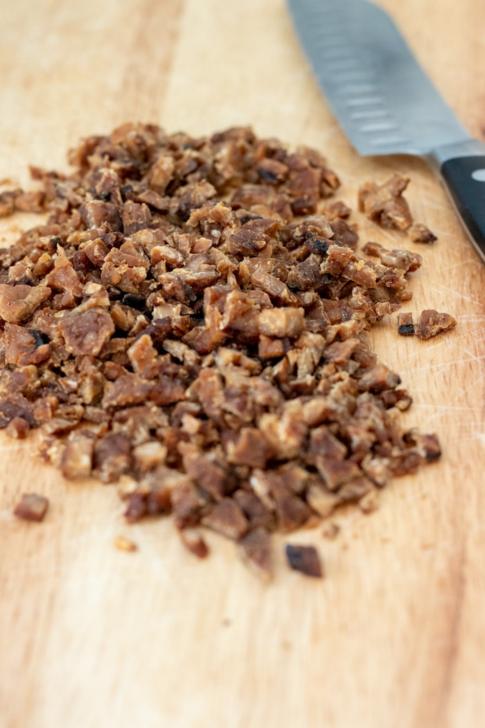 Tempeh Bacon Bits for IPA Vegan Cheese Ball