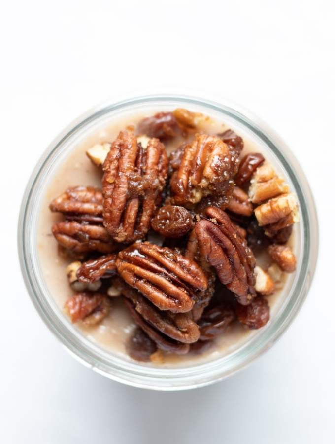 Rum Raisin Pudding with Candied Pecans
