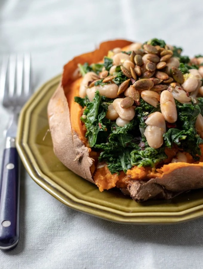 Sweet Potatoes with Lemony Kale and White Beans