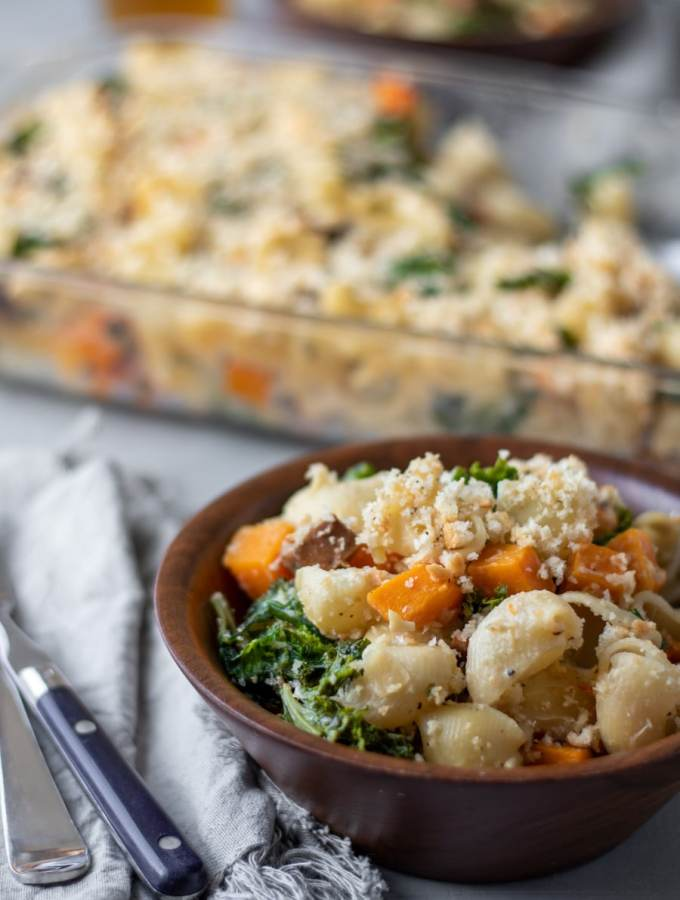 Vegan Pasta Bake with Sausage, Squash and Kale
