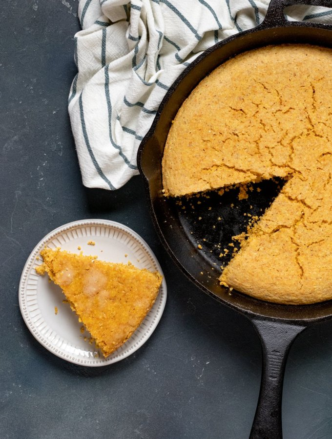 savory vegan cornbread in a cast iron skillet