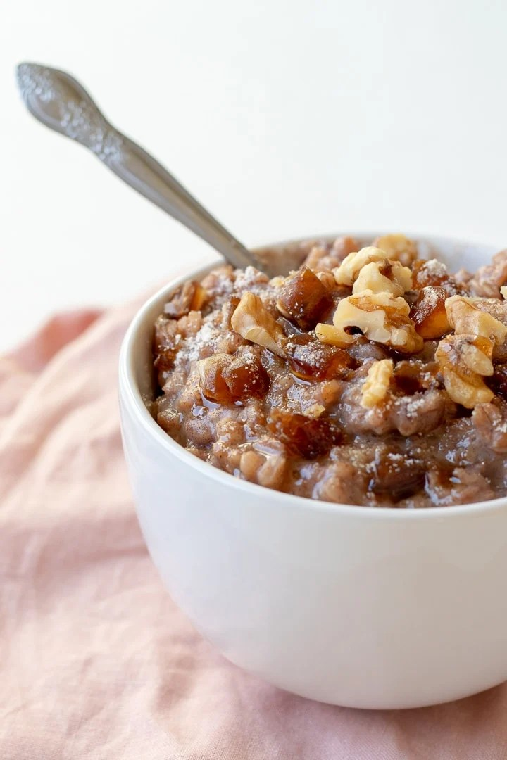 Farro Breakfast Pudding With Dates and Cardamom