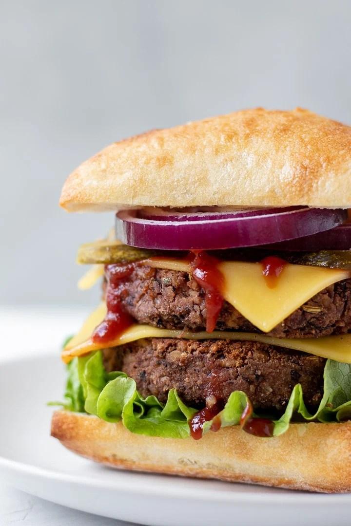 Close up view of Vegan Tempeh and Black Bean Sausage Burgers