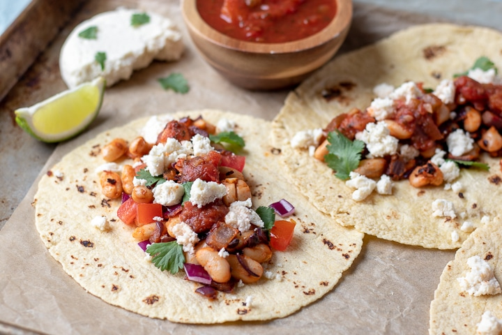 Almond Queso Blanco on Smoky White Bean Tacos