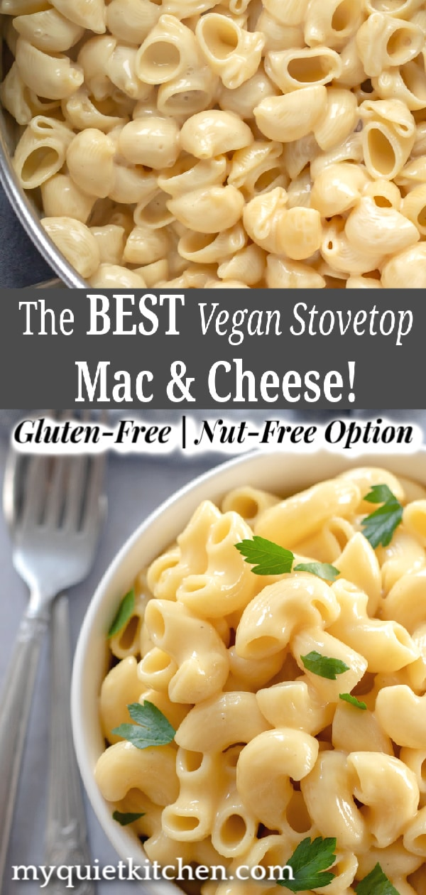 Best Vegan Stovetop Mac and Cheese pin for Pinterest
