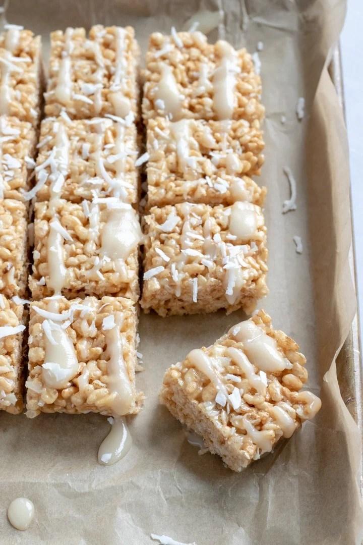 CBD-infused Vegan Rice Krispie Treats drizzled with coconut glaze