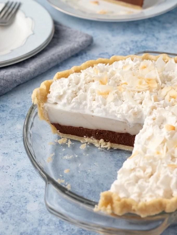 Chocolate Haupia Pie in pie plate