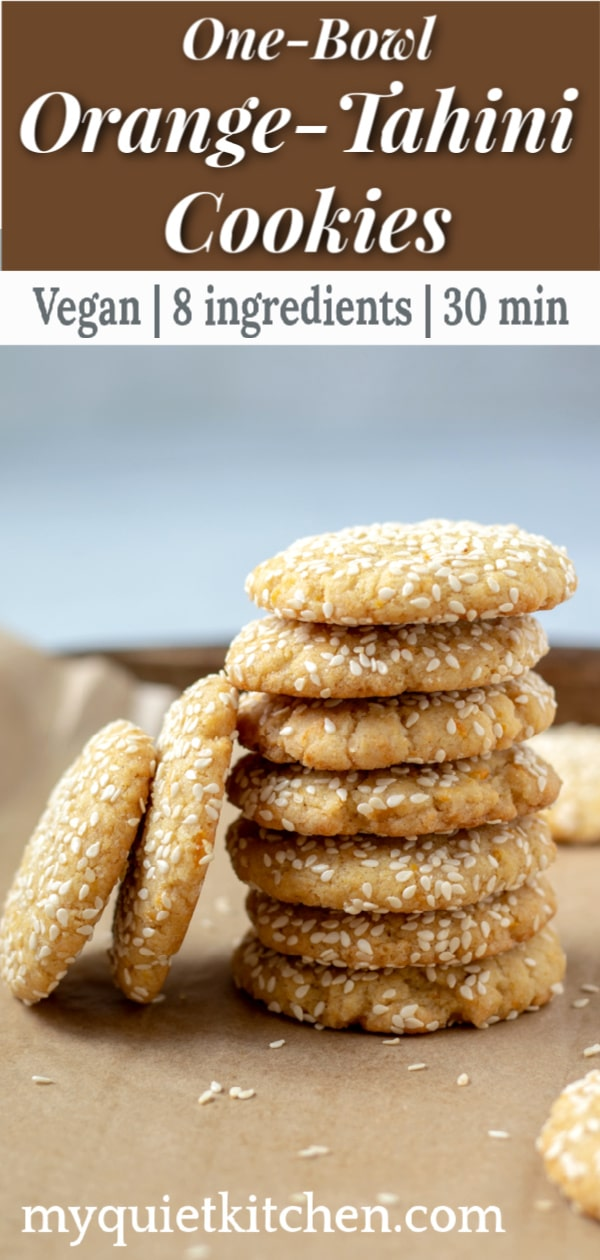 vegan One-Bowl Orange-Tahini Cookies pin for Pinterest