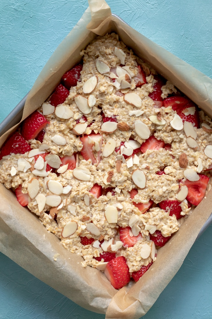 Strawberry Bar mixture in pan before being baked