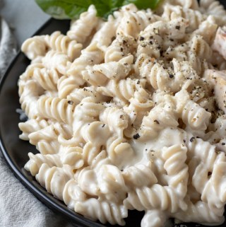 Creamy Lemon Pasta on a black plate