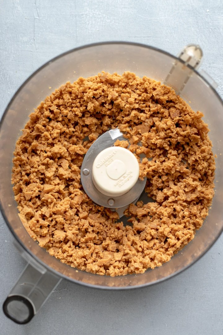 crumbled seitan in a food processor