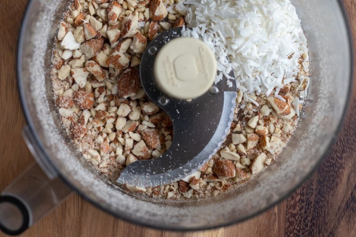 energy bar mixture in bowl of a food processor
