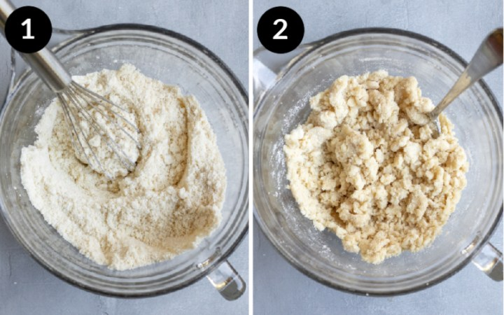 Collage showing steps 1 and 2 combining ingredients for almond flour vegan pie crust