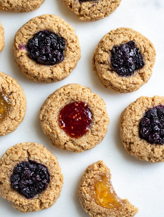 thumbprint cookies filled with a variety of fruit-sweetened jellies