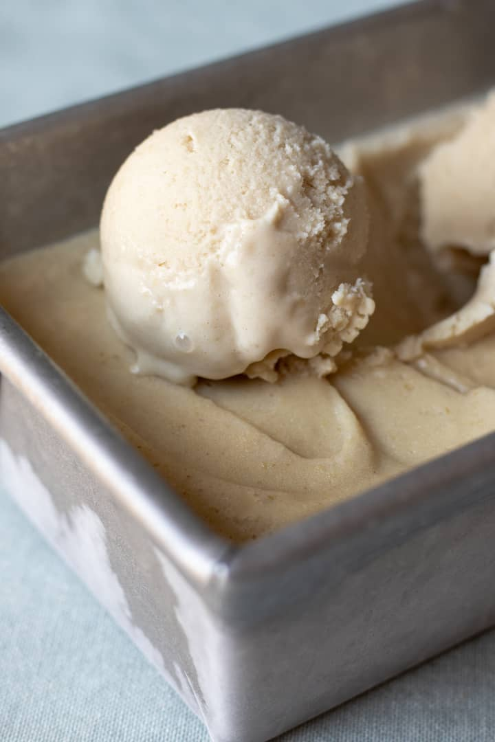 close up of a scoop of Vegan Vanilla Maple Ice Cream