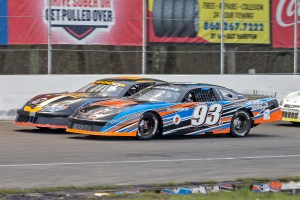 Ray Christian III and Keith Rocco started on the front row for the 30-lap late model feature at NEw London-Waterford Speedbowl in Waterford, CT. (Photo by Stephen Furst/Myracenews.com)