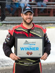 Eric Goodale won the Coors Light pole award for the New England Cycle Works 161 at the New London-Waterford Speedbowl in Waterford, CT. (Photo by Stephen Furst/Myracenews.com)