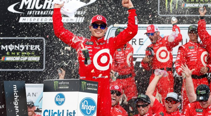 Larson Captures Third Straight Michigan Victory on Final Restart