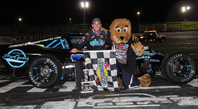 JOHN FORTIN JR. MASTERS RESTARTS TO CLAIM FIRST CAREER NASCAR MODIFIED VICTORY AT RIVERHEAD RACEWAY SATURDAY NIGHT
