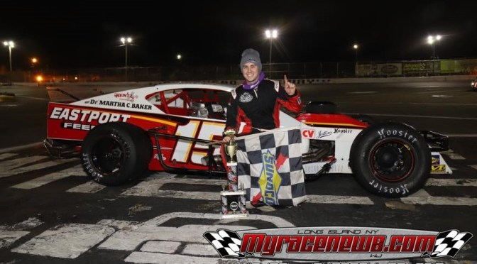 KYLE SOPER CHARGES FROM REAR OF RIVERHEAD RACEWAY NASCAR MODIFIED FIELD TWICE TO WIN OPENING NIGHT 50-LAPPER