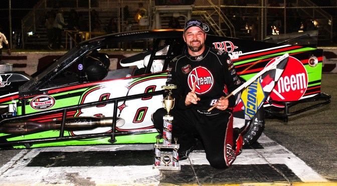 ROGER TURBUSH SURVIVES WILD RIVERHEAD RACEWAY NASCAR MODIFIED FEATURE TO EARN FIRST CAREER VICTORY