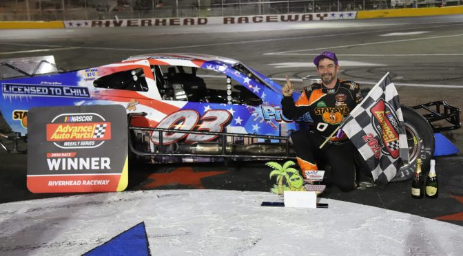 TOM ROGERS JR. ACCEPTS THE CHALLENGE AND RACES FROM LAST TO FIRST TO WIN THE BUBBA 150 NASCAR MODIFIED EVENT AT RIVERHEAD RACEWAY FOR 60TH CAREER VICTORY