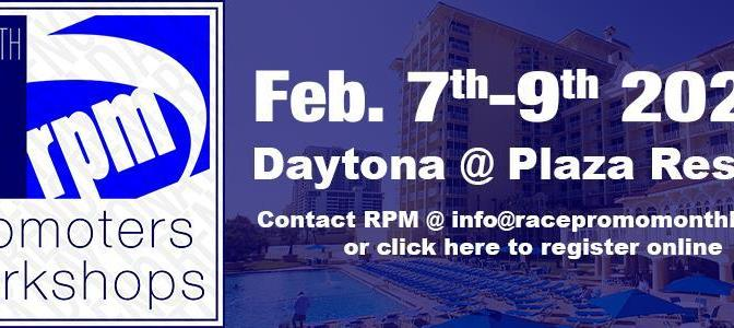 SCHEDULE SET FOR 48th ANNUAL RPM@DAYTONA WORKSHOPS