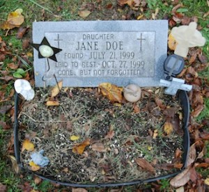 Jane Doe's grave marker.