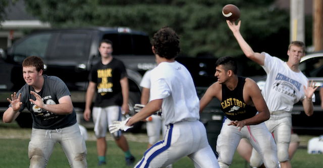 Junior quarterback Ben Heiligenthal fires a pass during Monday's practice at Lincoln Field. The junior looks to build on a solid sophomore season in which he threw for more than 1,000 yards with 17 touchdowns. (Mike Ramczyk/Standard Press)