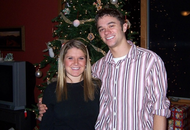 Jennifer Libbey (left) in a family photo with her husband, Nathan. Jennifer Libbey, 35, a teacher with the Burlington Area School District, died unexpectedly last week.