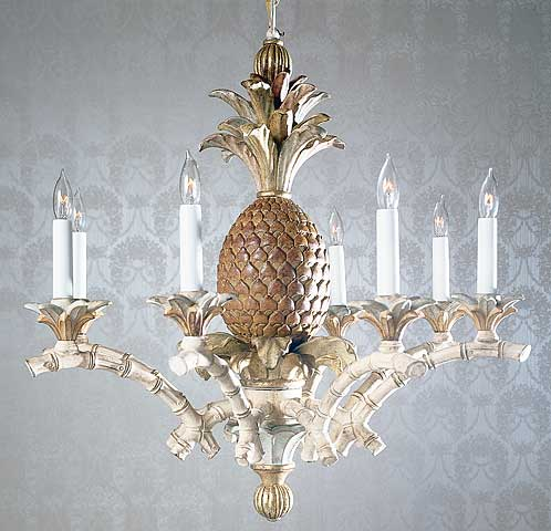 Hand Carved Wood Chandelier With Pinele
