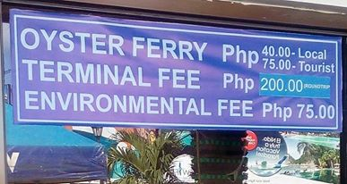 Boracay Oyster Ferry Fee Increased 2018