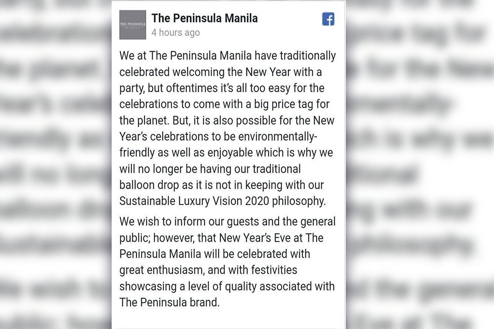 The Peninsula Manila cancels its NY Balloon Confetti Drop as part of its sustainability Visions