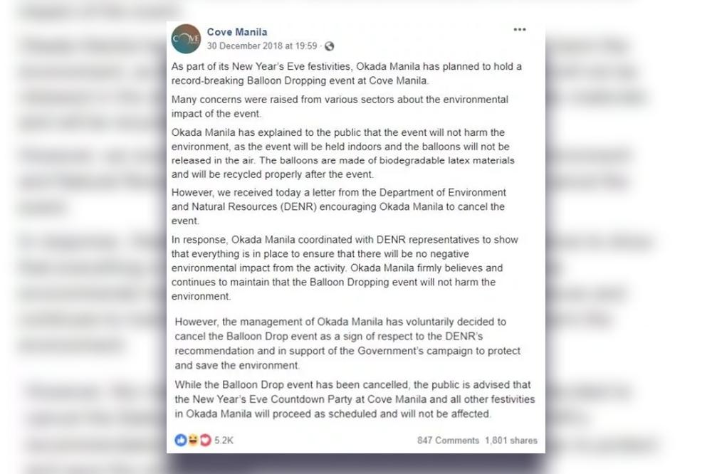 Cove Manila cancels its NY Balloon Confetti Drop 2018
