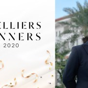 Stelliers Award Poster 2020 and a photo of Rey Moraga in a black jacket and white shirt, standing in front of Raffles Grand Hotel Siem Reap