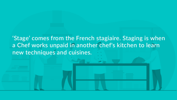 Quote on blue background explaining where the culinary term 'stage' comes from; french