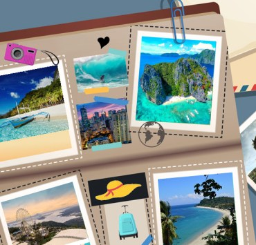 Suitcase with photos of Philippine tourism destinations open at June 2021